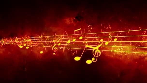 Animált háttér zenei megjegyzi, zene megjegyzi, folyó, patak zene jegyzetek - varrat nélküli hurok repülő