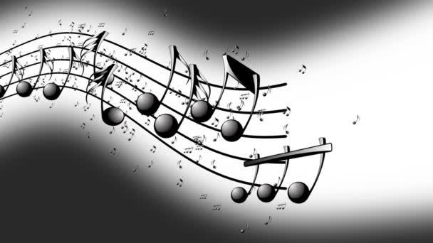 Sfondo animato con le note musicali, note di musica che scorre, flusso di musica note volanti