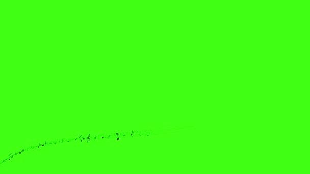 Sfondo con le note musicali, note di musica che scorre, flusso di musica note volanti sullo schermo verde animato