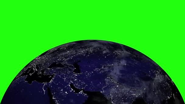 Planeta země ve vesmíru otočí 360 stupňů. Smyčky animace na Green Screen