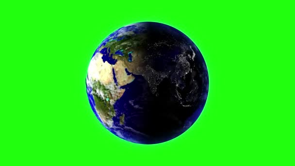 Planet Earth in space rotates 360 degrees. LOOPED animation on GREEN SCREEN
