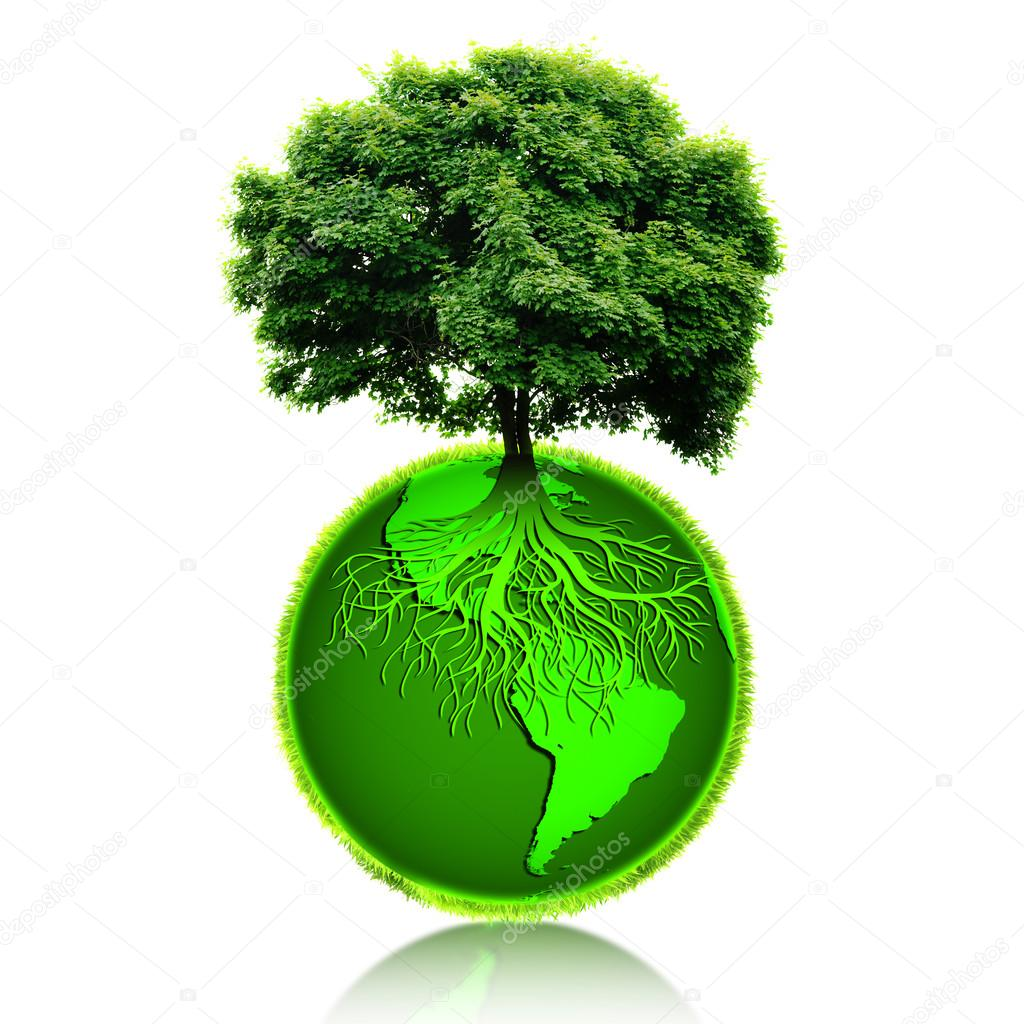 Small Eco Planet With Tree And Roots On It. Green Earth