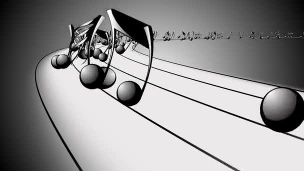 Animált háttér zenei megjegyzi, zene megjegyzi, folyó, patak zene jegyzetek repülő