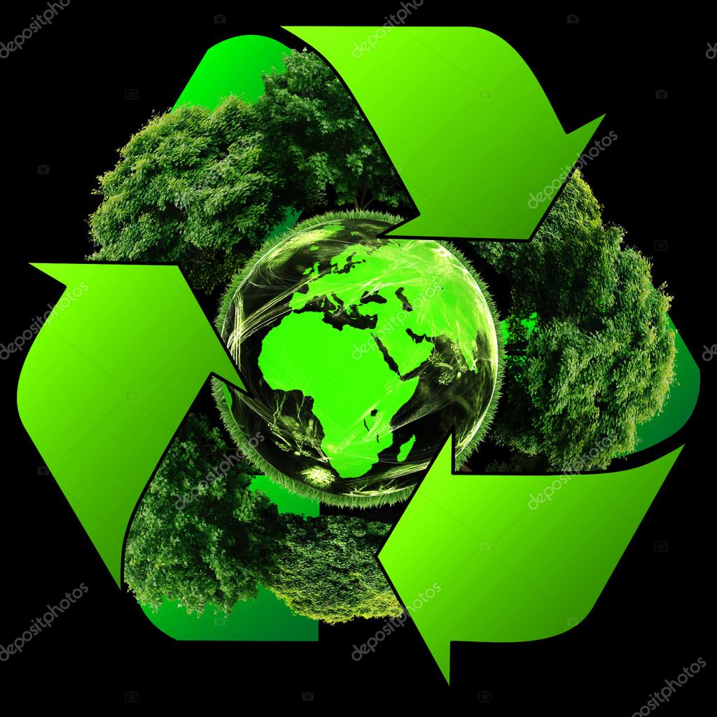 Recycle logo with tree and earth. Eco globe with recycle signs