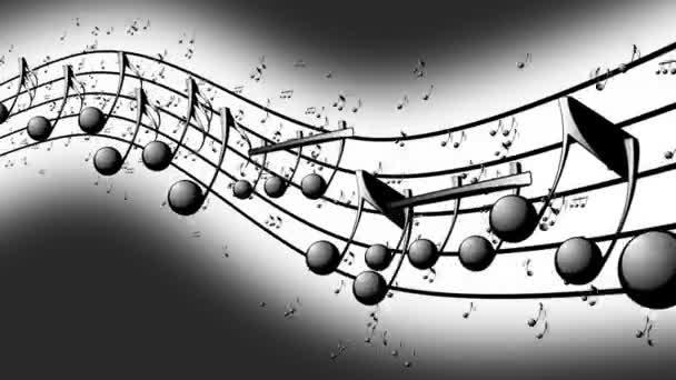 Animované pozadí s noty, hudebniny, tekoucí, létající stream Music Notes - bezešvá smyčka