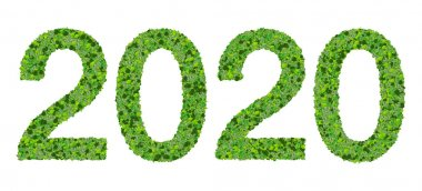 Year 2020, date made from green leaves isolated on white background.