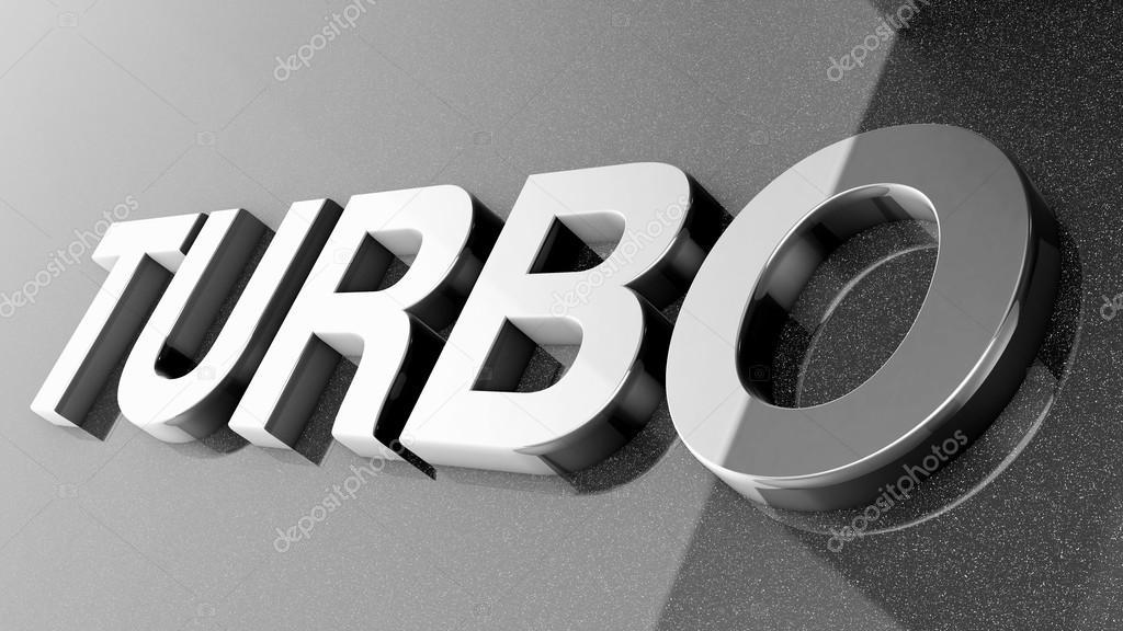 TURBO sign, label, badge, emblem or design element on car