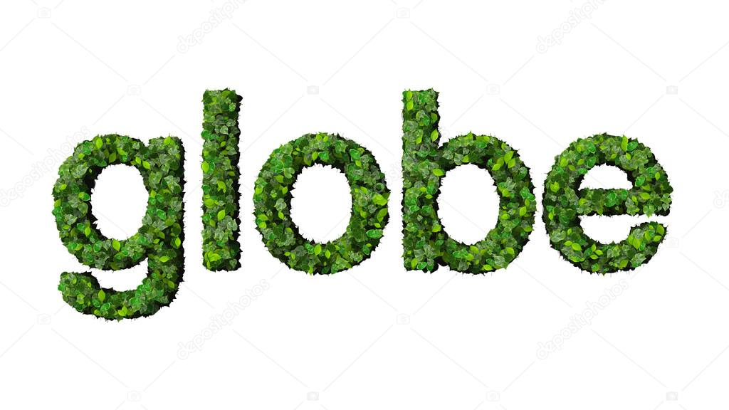word globe made from green leaves isolated on white background