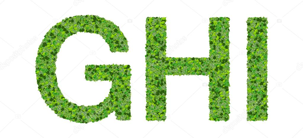 G H I Letras del alfabeto hechas de hojas verdes aisladas sobre ...