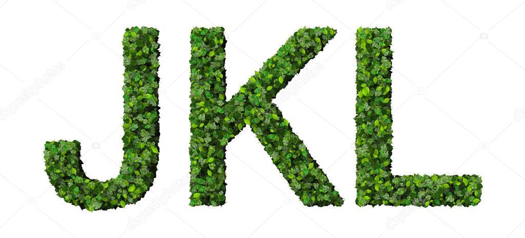 Letras J K L del alfabeto de hojas verdes aisladas sobre fondo ...