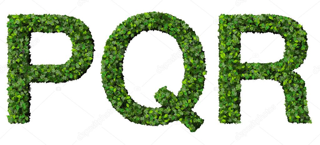 letters p q and r stock photography image 15830572 p q r alphabet letters made from green leaves isolated on 552