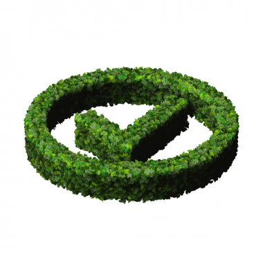 Approved, ok, like, eco sign made from green leaves isolated on black background. 3D render.