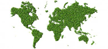 Earth, world map made from green leave.