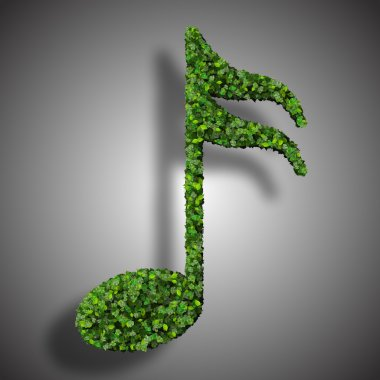 Musical note semiquaver symbol made from green leaves isolated on white background. 3d render