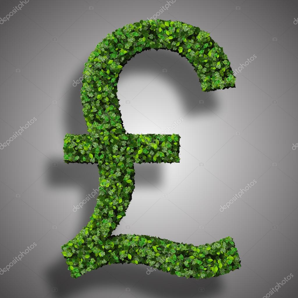 British pound currency symbol or sign made from green leaves beautiful graphics made with green leaves on a gradient background photo by mikiel biocorpaavc Images