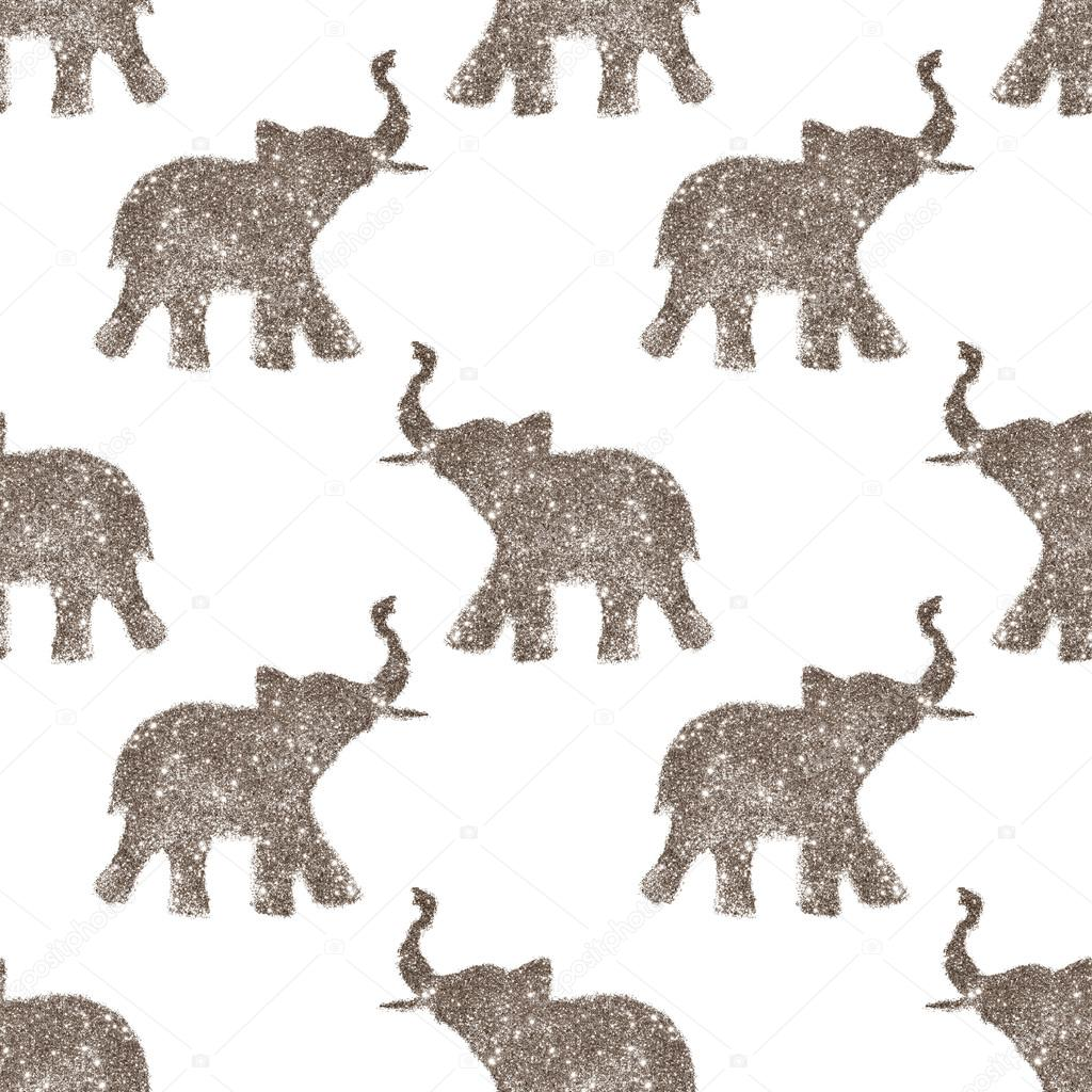 Seamless Pattern With Nice Abstract Elephants Of Glitter Their