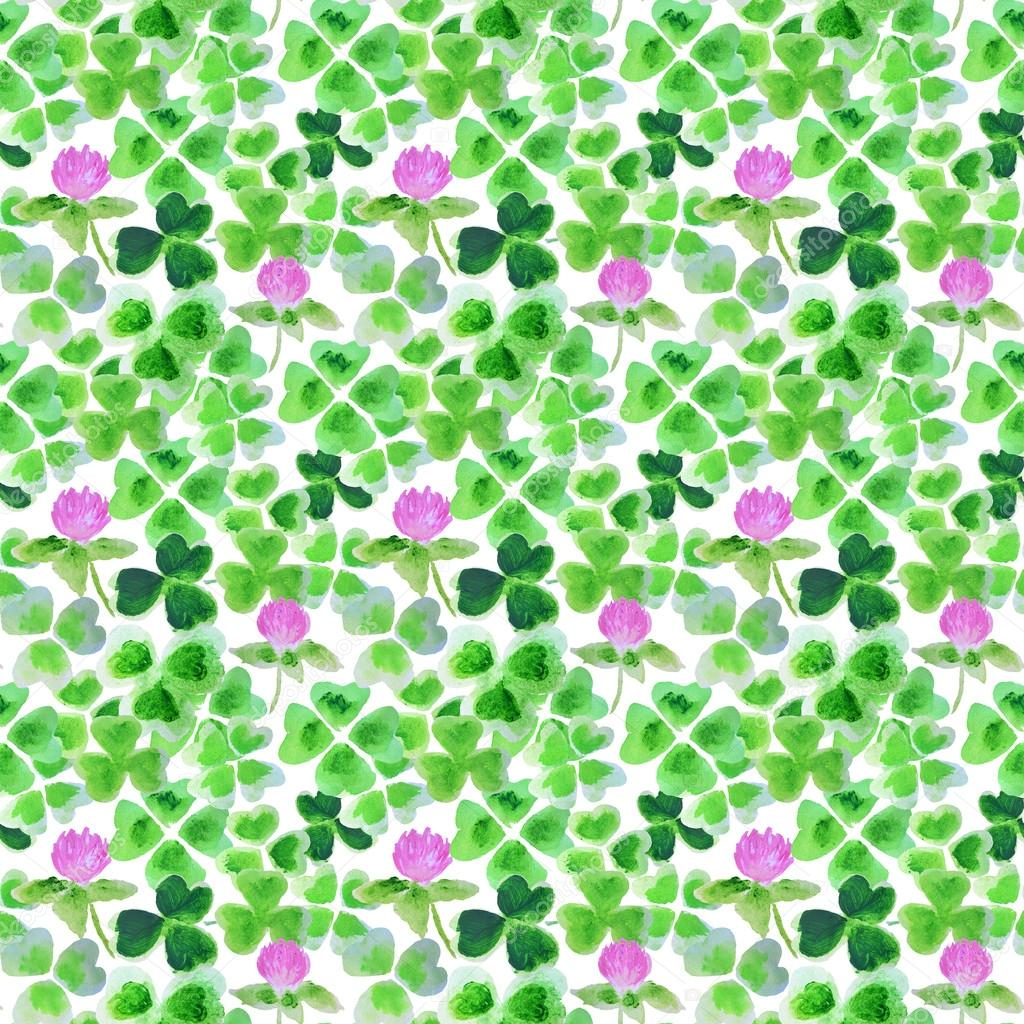 Seamless pattern with watercolor leaves and flowers of clover for your design