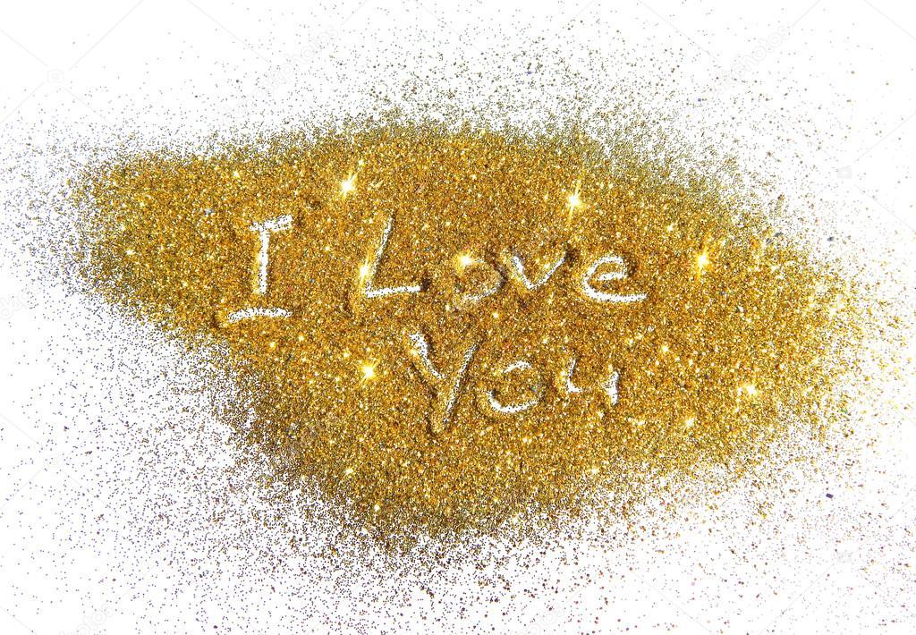 I Love You Imágenes De Stock I Love You Fotos De Stock: Inscripción I Love You En Sparkle Glitter Dorado Sobre