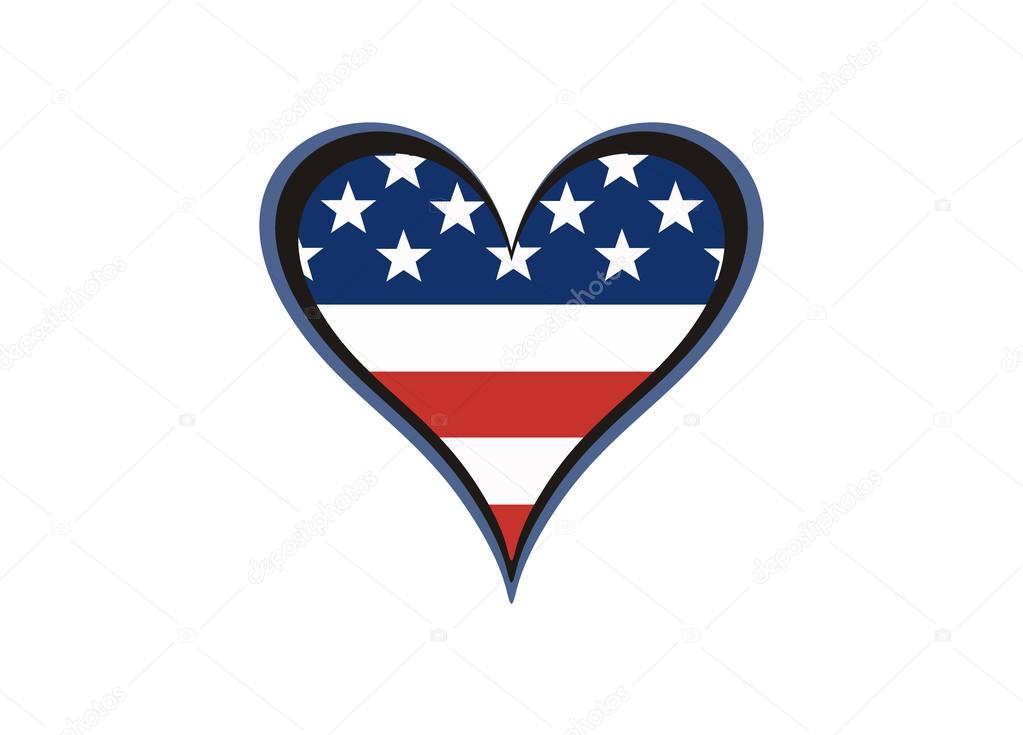 Herz, lackiert in den Farben der amerikanischen Flagge — Stockvektor ...