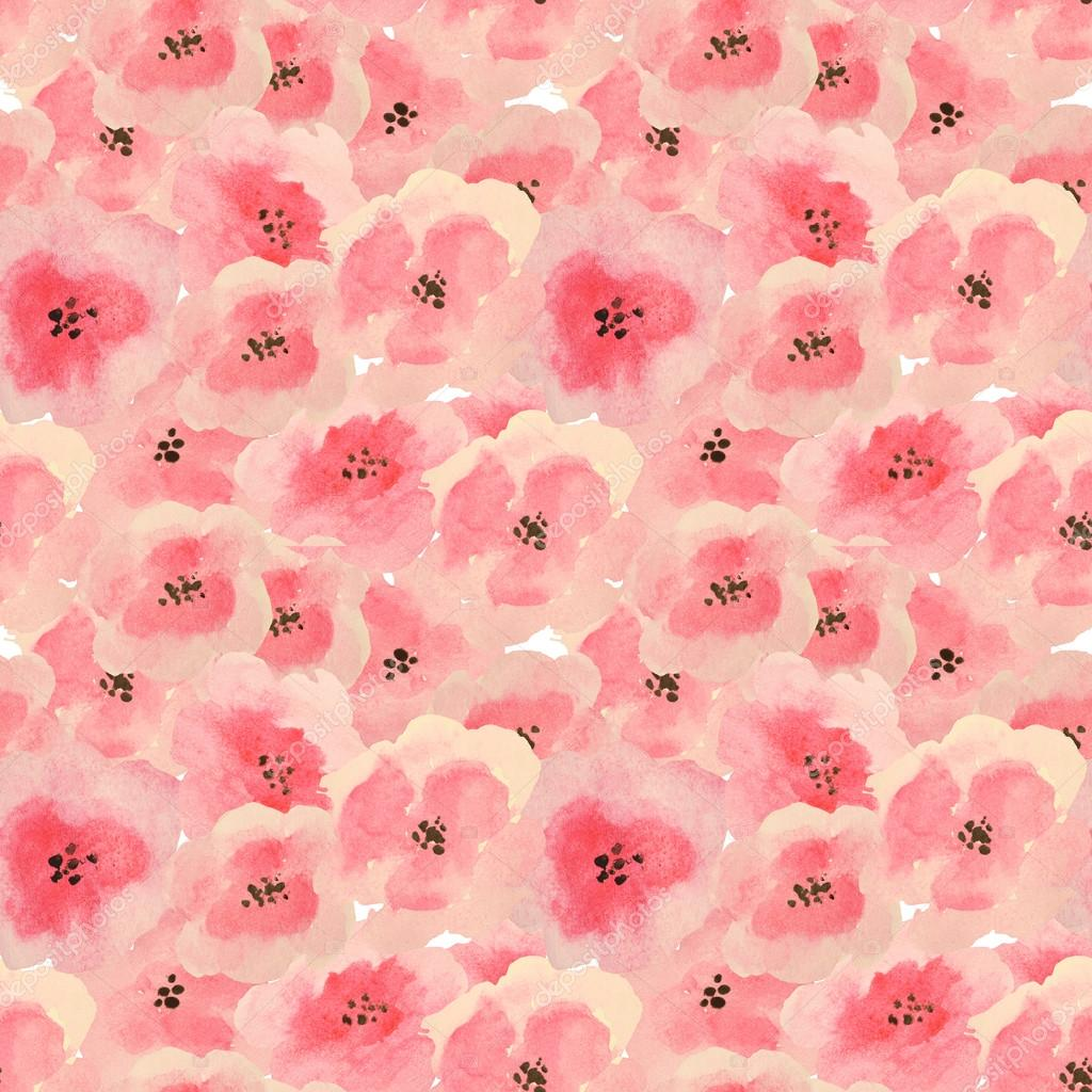 Seamless pattern with beautiful watercolor flowers
