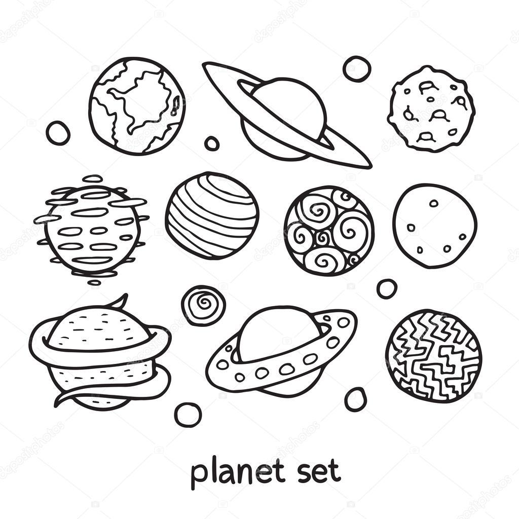dessin anim u00e9 esquisse ensemble de plan u00e8tes fictifs  u2014 image