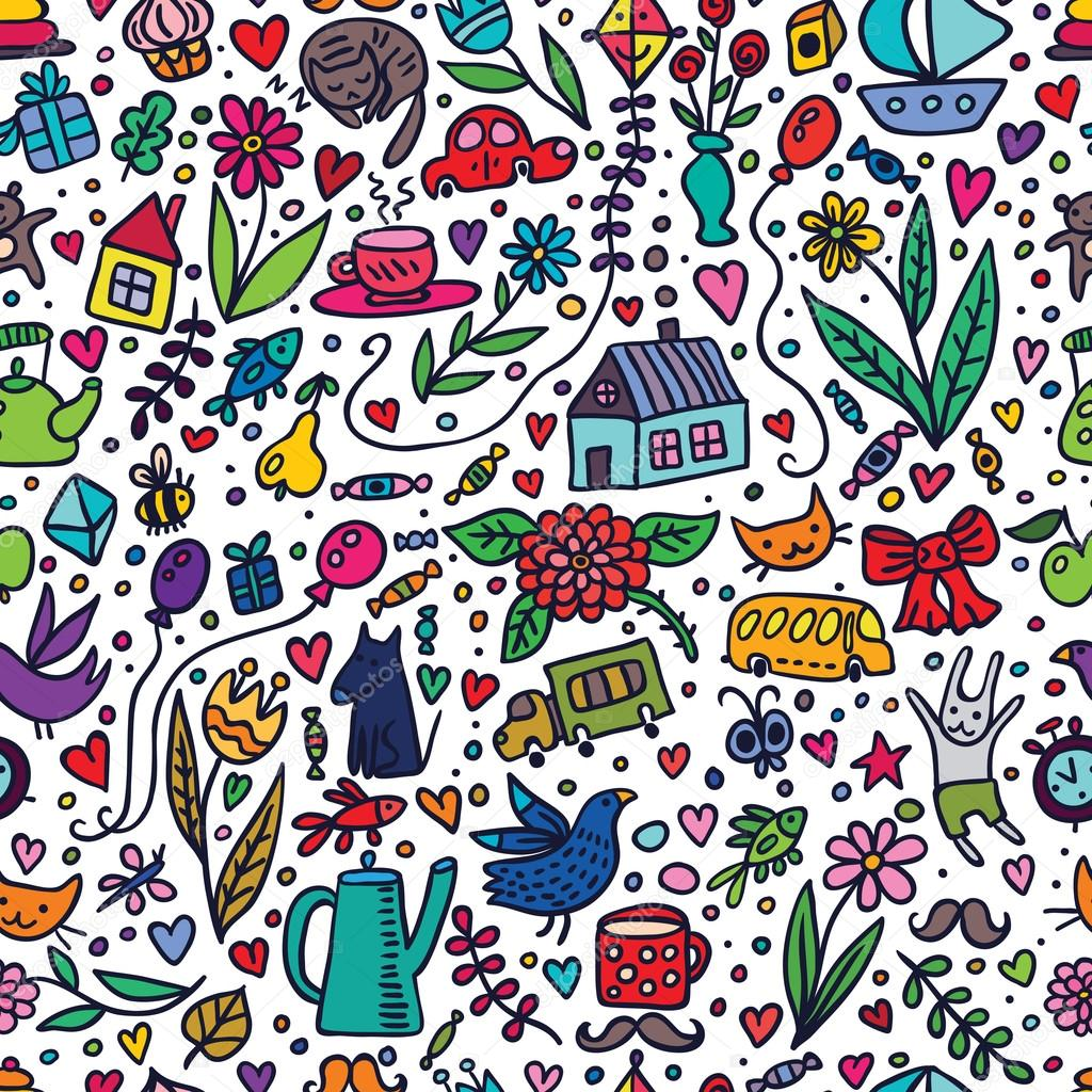 Cute Kids Seamless Pattern with Nice Things
