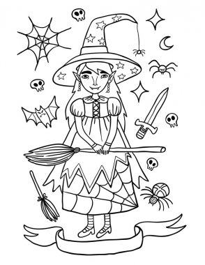 Cute Little Witch Helloween Outline Illustration
