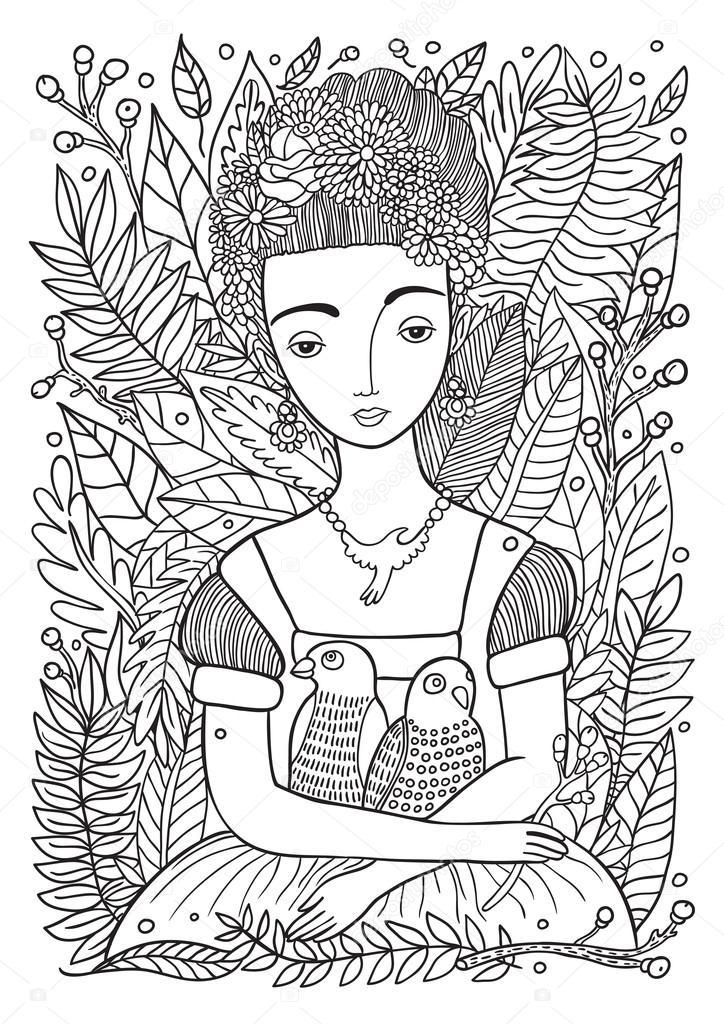 Hermosa chica con loros para colorear página — Vector de stock ...