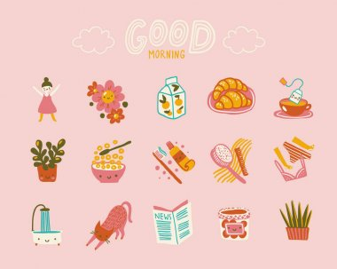 Good morning. Cute positive icons set about morning habits and rituals. icon