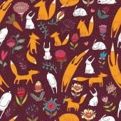 Füchse Hasen Blumen weinig nahtlose Muster