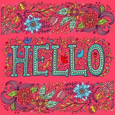 Word hello and flowers on a pink background.