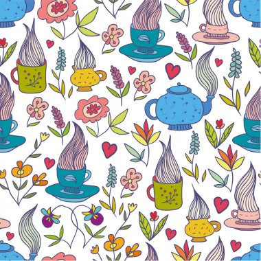 Doodle flowers and cups seamless pattern