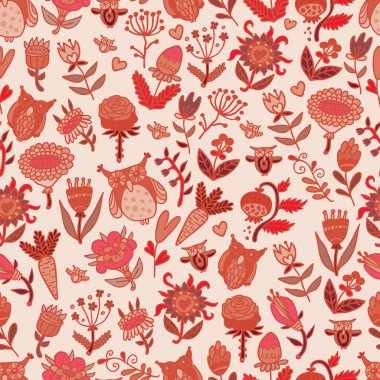 Pattern with flowers and owls
