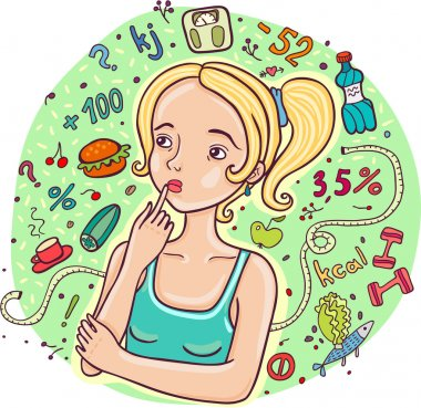 Diet girl illustration.