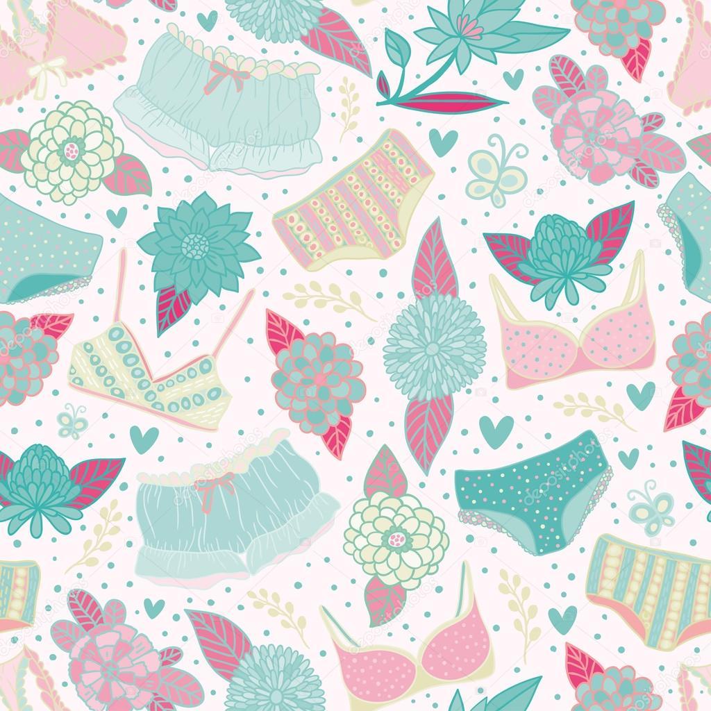 Flores y el suave patrón sin costuras ropa interior — Archivo ...