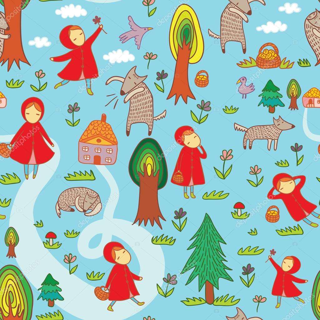 Red Riding Hood Seamless Pattern