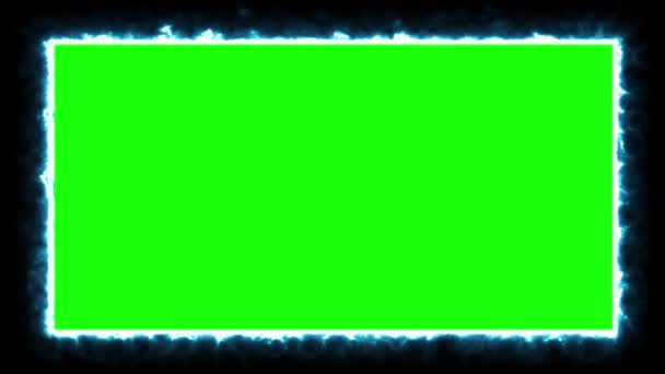 Animated rectangular neon blue frame with green screen. Particles twist around the edges. Motion design.Looped footage.