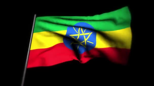Ethiopia flag , Realistic 3D animation of waving flag. Ethiopia flag waving in the wind. National flag of Ethiopia. seamless loop animation. 4K High Quality, 3D render