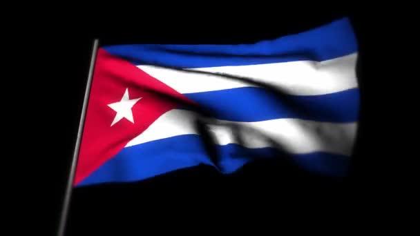 Kubánská vlajka, realistická 3D animace vlající vlajky. Kubánská vlajka vlála ve větru. Národní vlajka Kuby. bezproblémová animace smyčky. 4K High Quality, 3D rendering