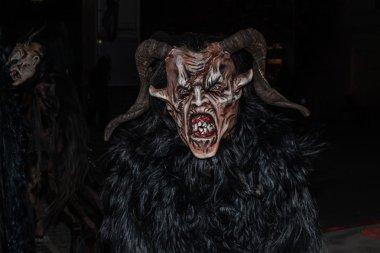 Perchten on a Perchtenlauf - masks and skins