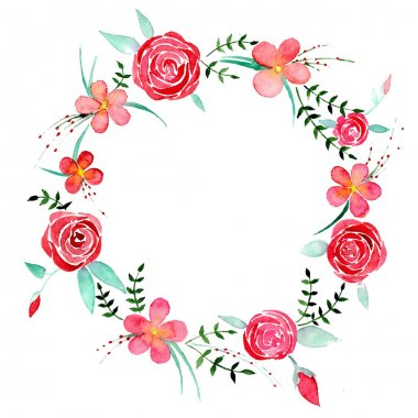 Roses watercolor wreath