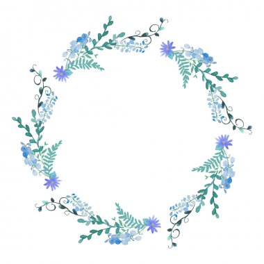 Watercolor flowers wreath in blue color