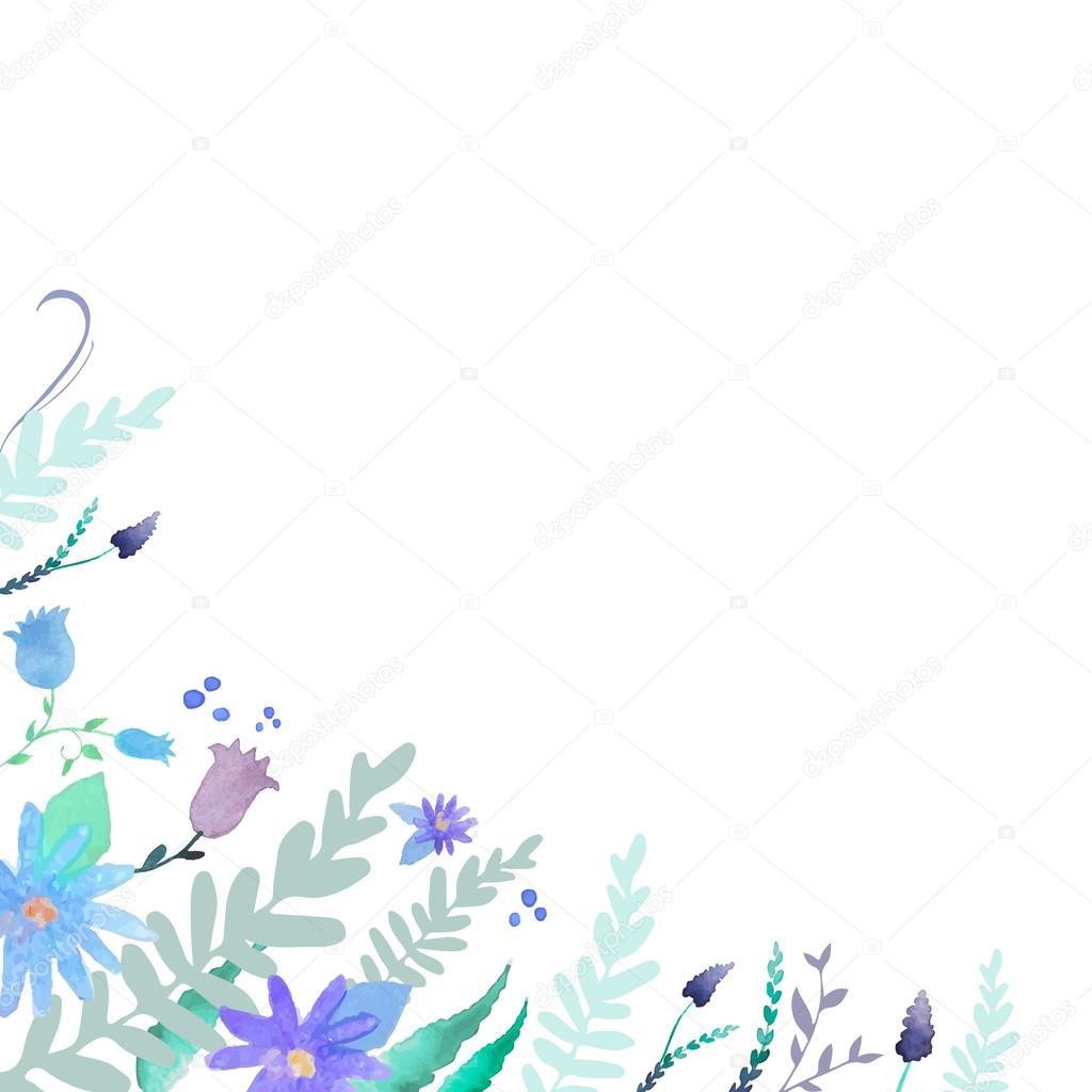 Fondo De Acuarela Con Flores Azules Archivo Imagenes Vectoriales