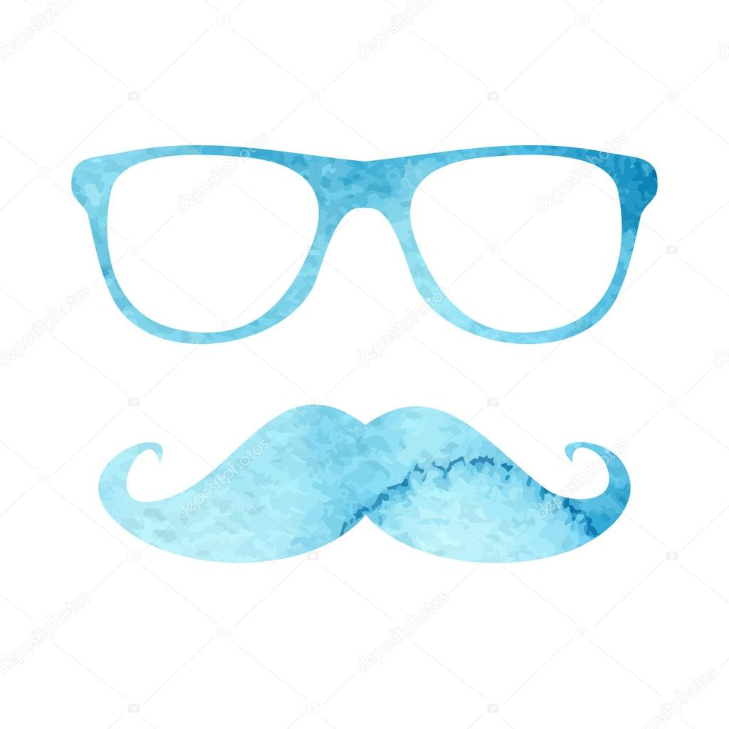 3c06705d995 Watercolor hipster mustache and glasses — Stock Vector © DinaL #58279859