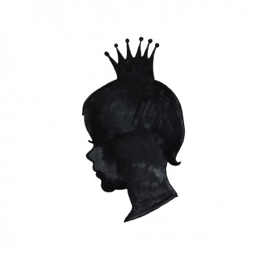 Girl with crown silhouette, Princess.