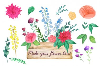 Watercolor wood box with flowers