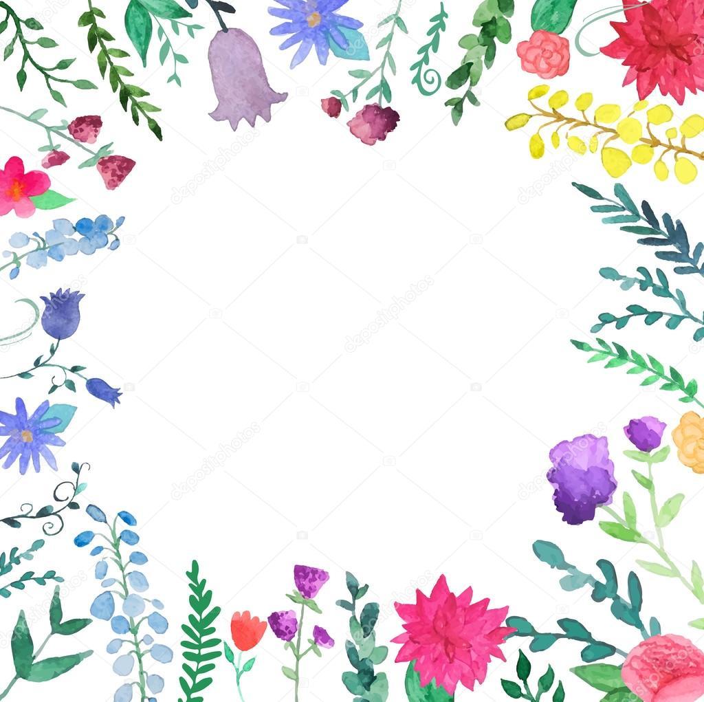 Watercolor Floral Border Stock Vector C Dinal 58489499
