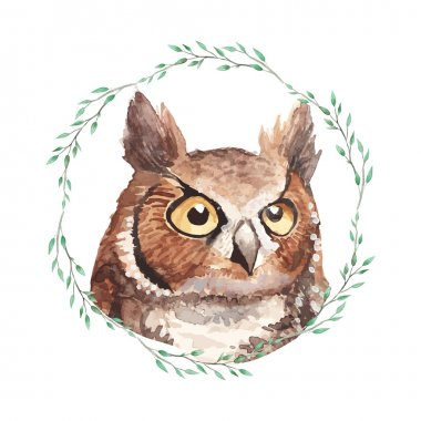 Owl portrait inside wreath.