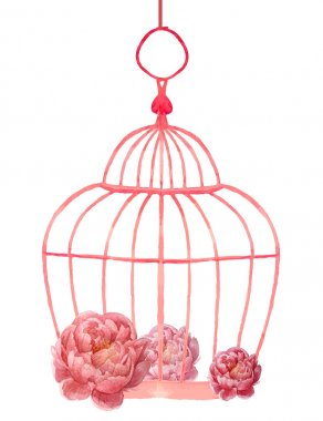 Vintage peony flowers posy and romantic cage. Watercolor wedding object isolated on white background. clip art vector