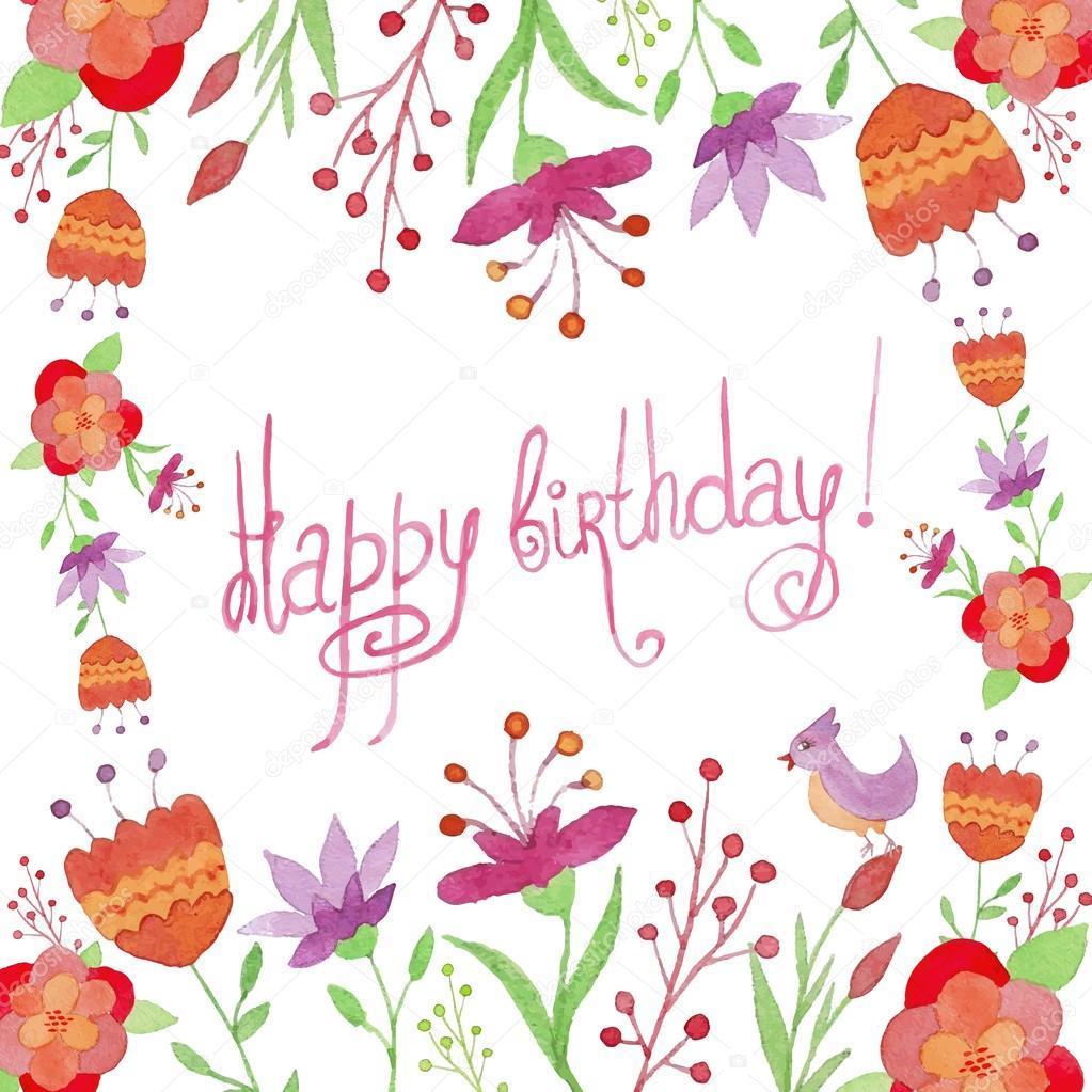 Carte De Joyeux Anniversaire Avec Fleurs Et Oiseaux Image